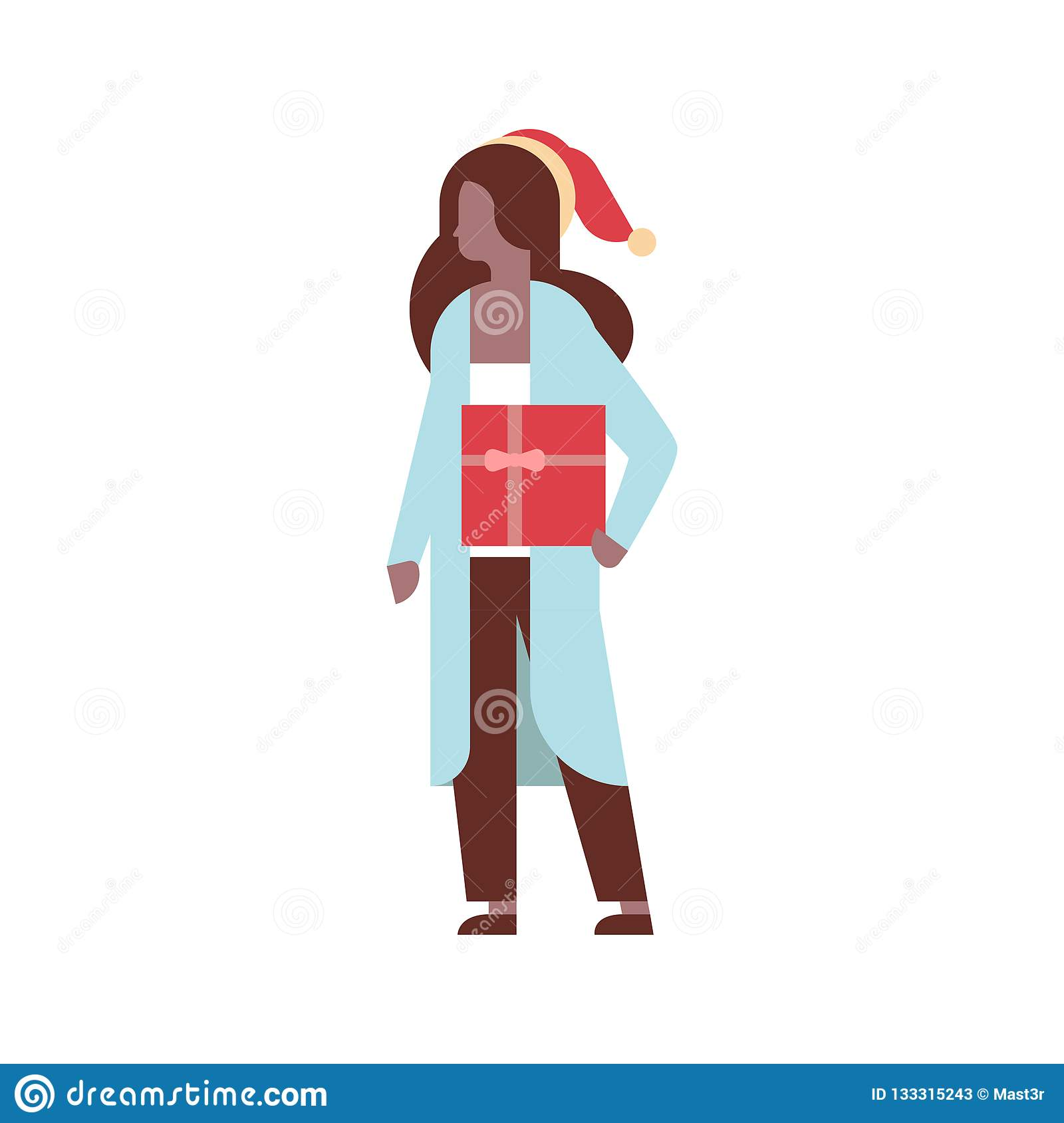 0fe6d9da74cc7 African american woman hold gift box present merry christmas happy new year  holiday celebration concept full