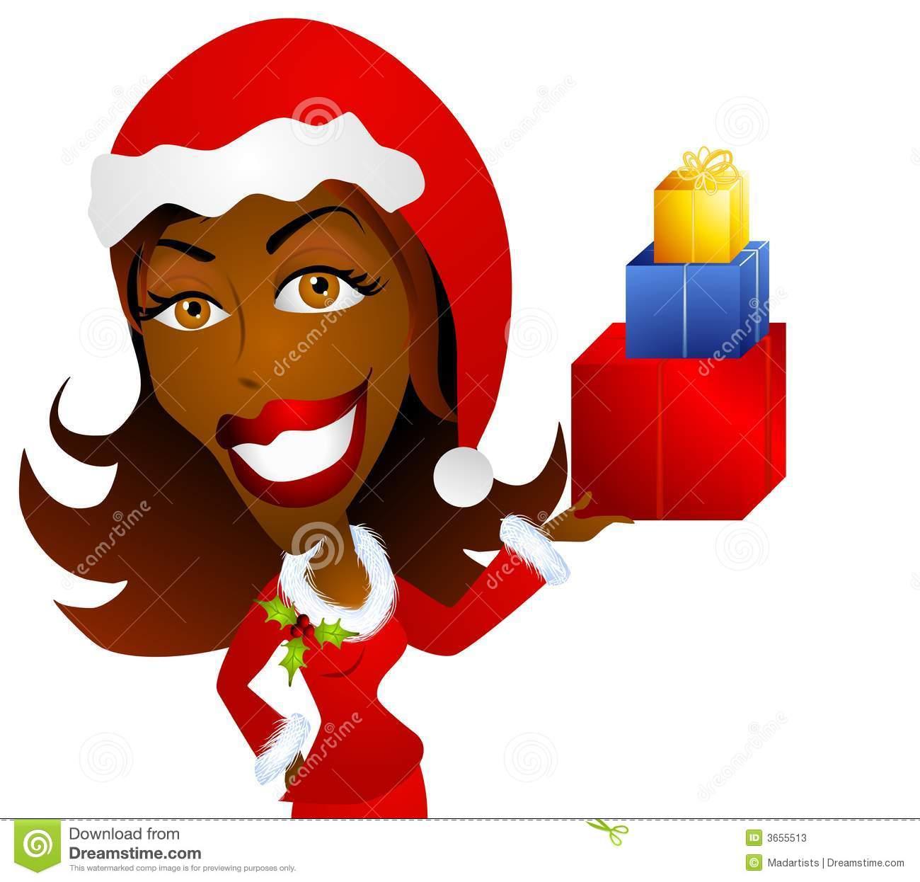 African American Woman Holding Christmas Gifts Stock Photos ...