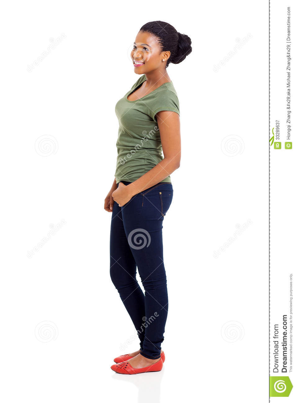Side view of beautiful african american woman standing on white    Woman Standing Side White Background