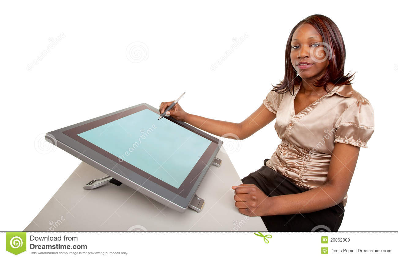 Download African American Woman Working On A Digital Tablet Stock Image - Image of designer, creation: 20062809