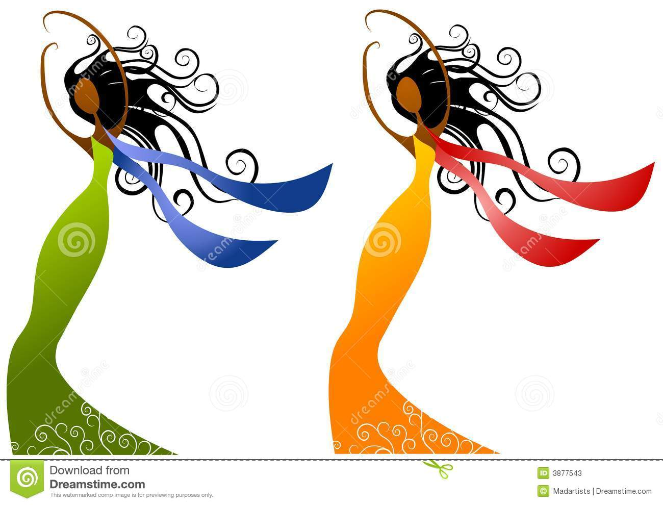 clip art illustration of your choice of 2 unique african american ...