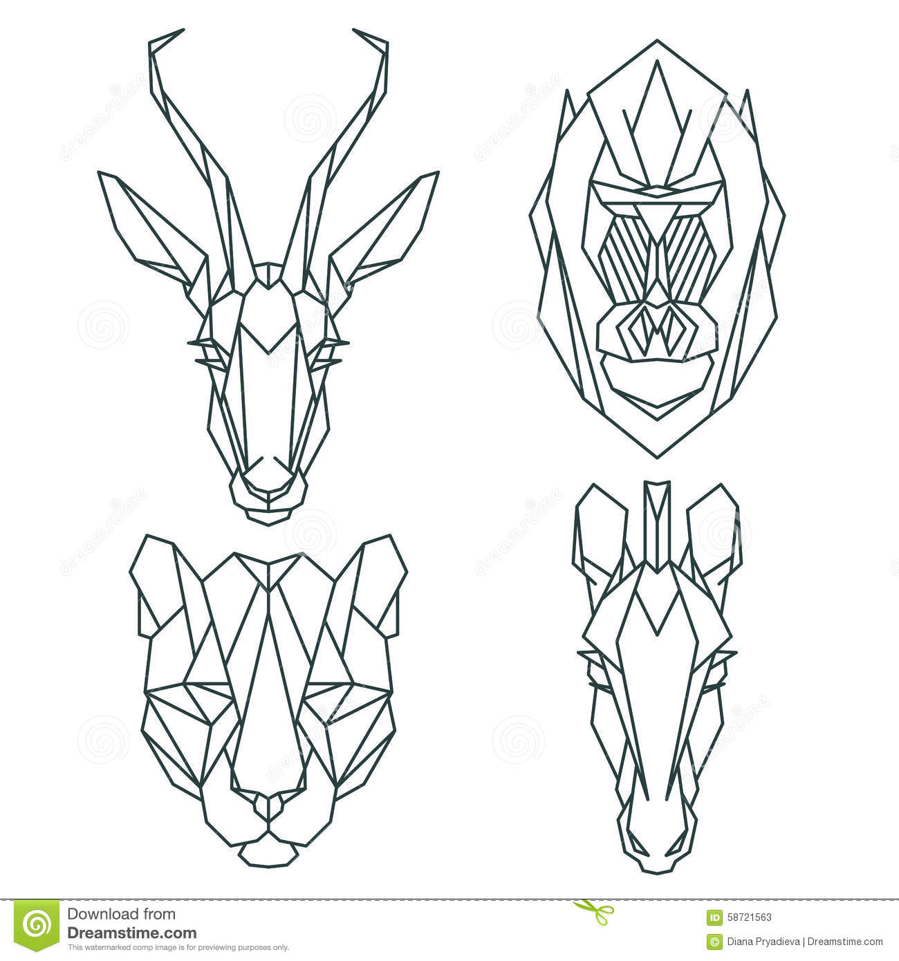 Line Art Design Tutorial : African animal icons vector icon set abstract triangular