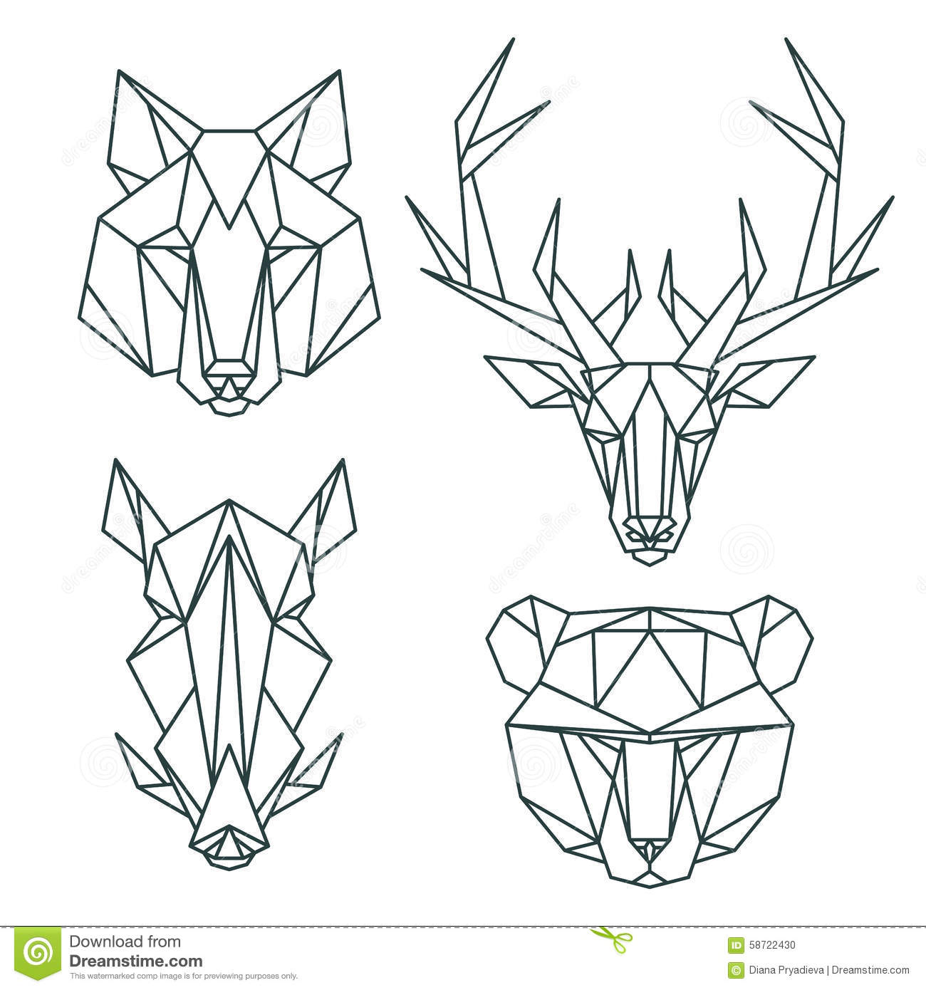 Vector Line Art Animals : African animal icons vector icon set abstract triangular