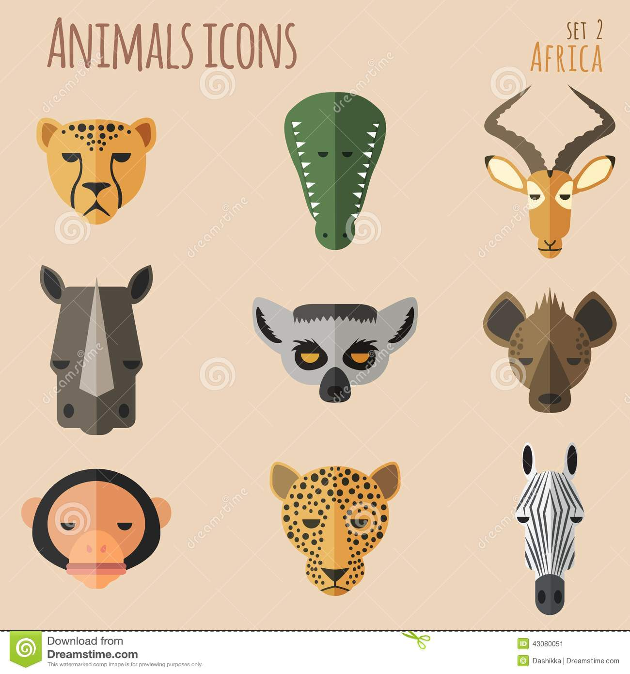 African Animal Portrait Set With Flat Design Stock Vector