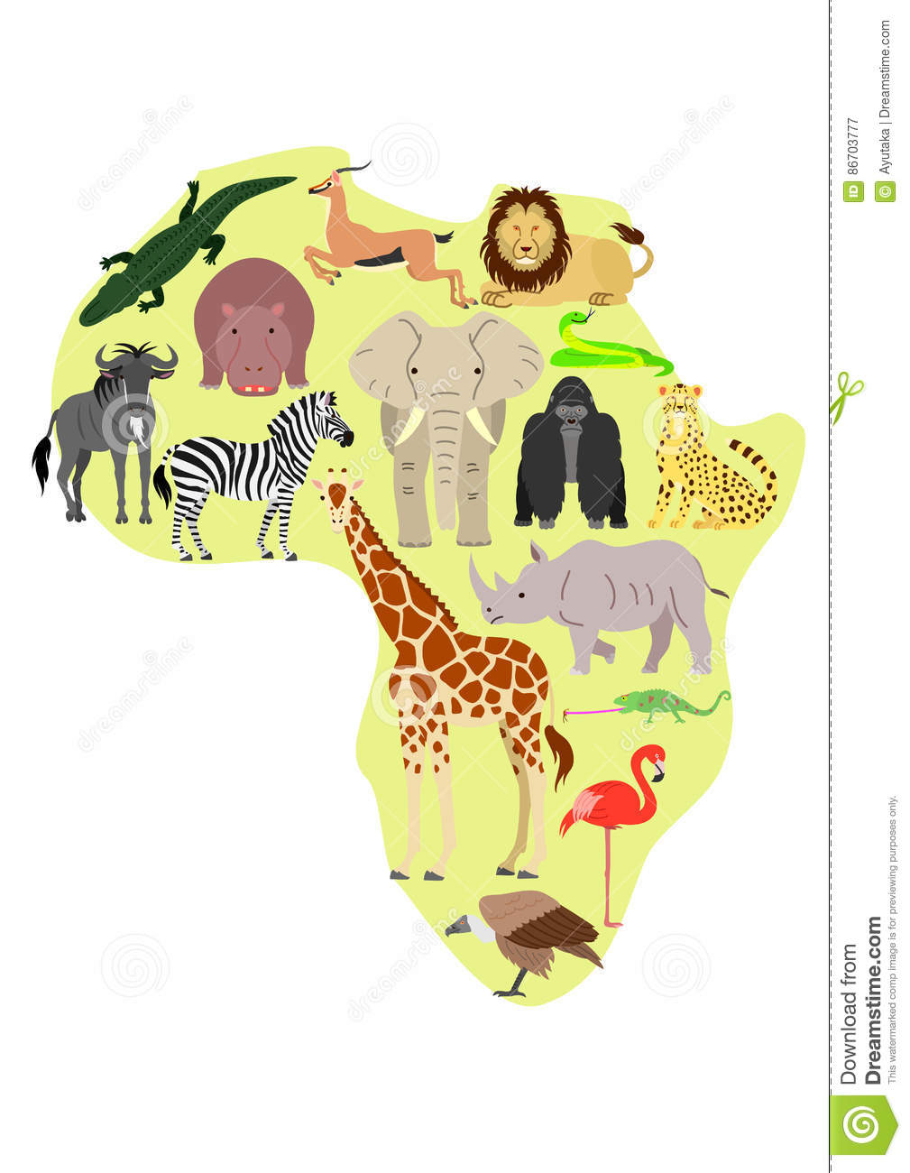 Map Of African Jungle.African Animal Set With African Map Background Stock Vector