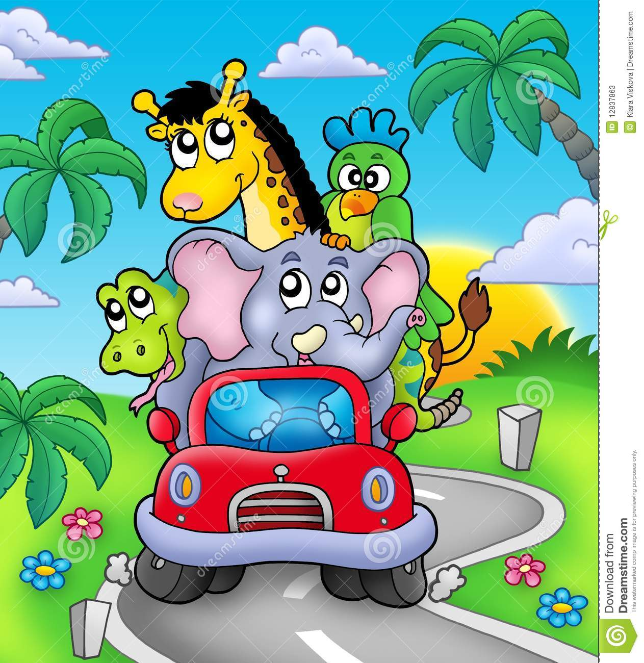 African animals in car on road