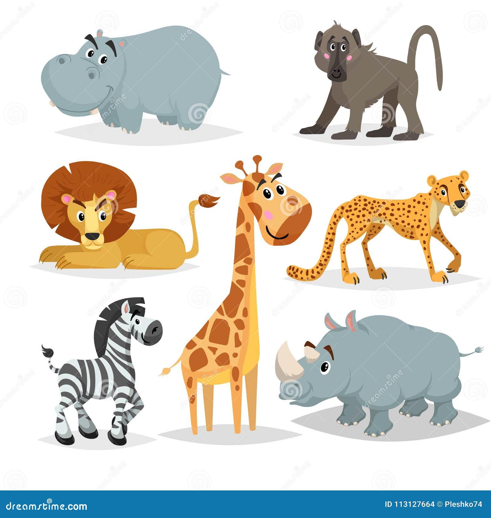 Animated Cheetah Wallpaper african animals cartoon set. hippo, baboon monkey, lion