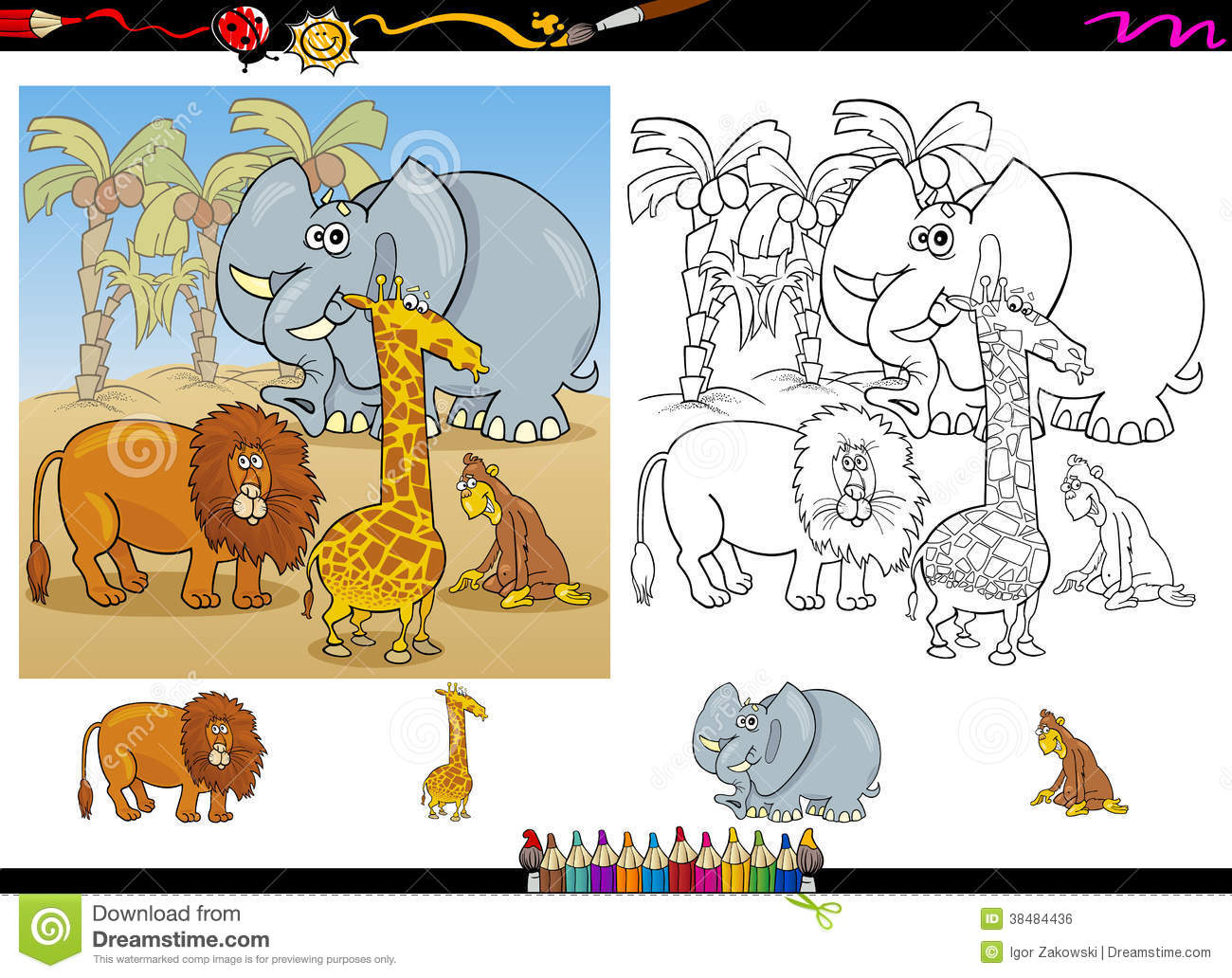 Cartoon Illustration Of Funny Safari Wild Animals Group For Coloring Book With Elements Set