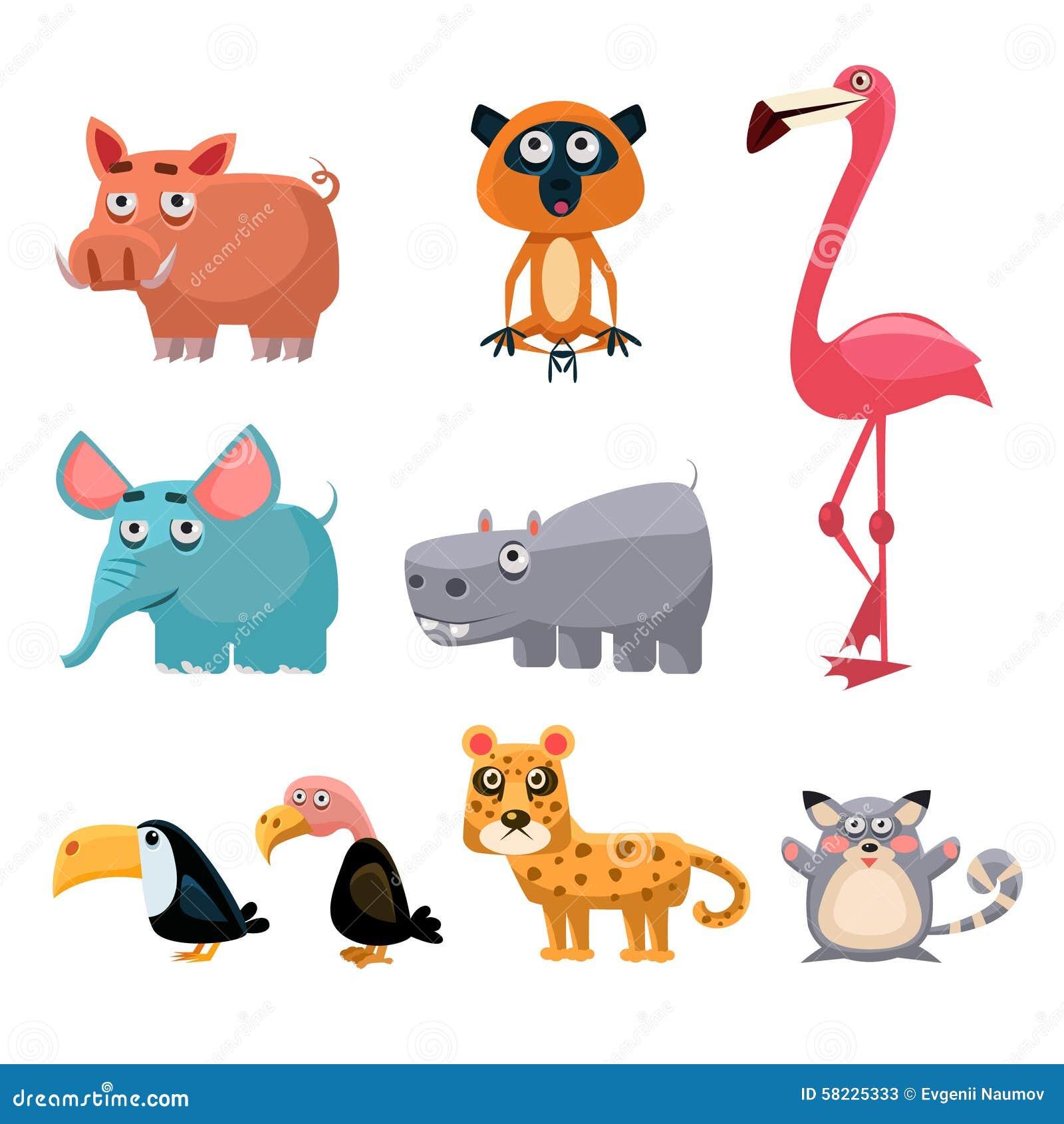 African Animals Fun Cartoon Clip Art Collection Stock ...