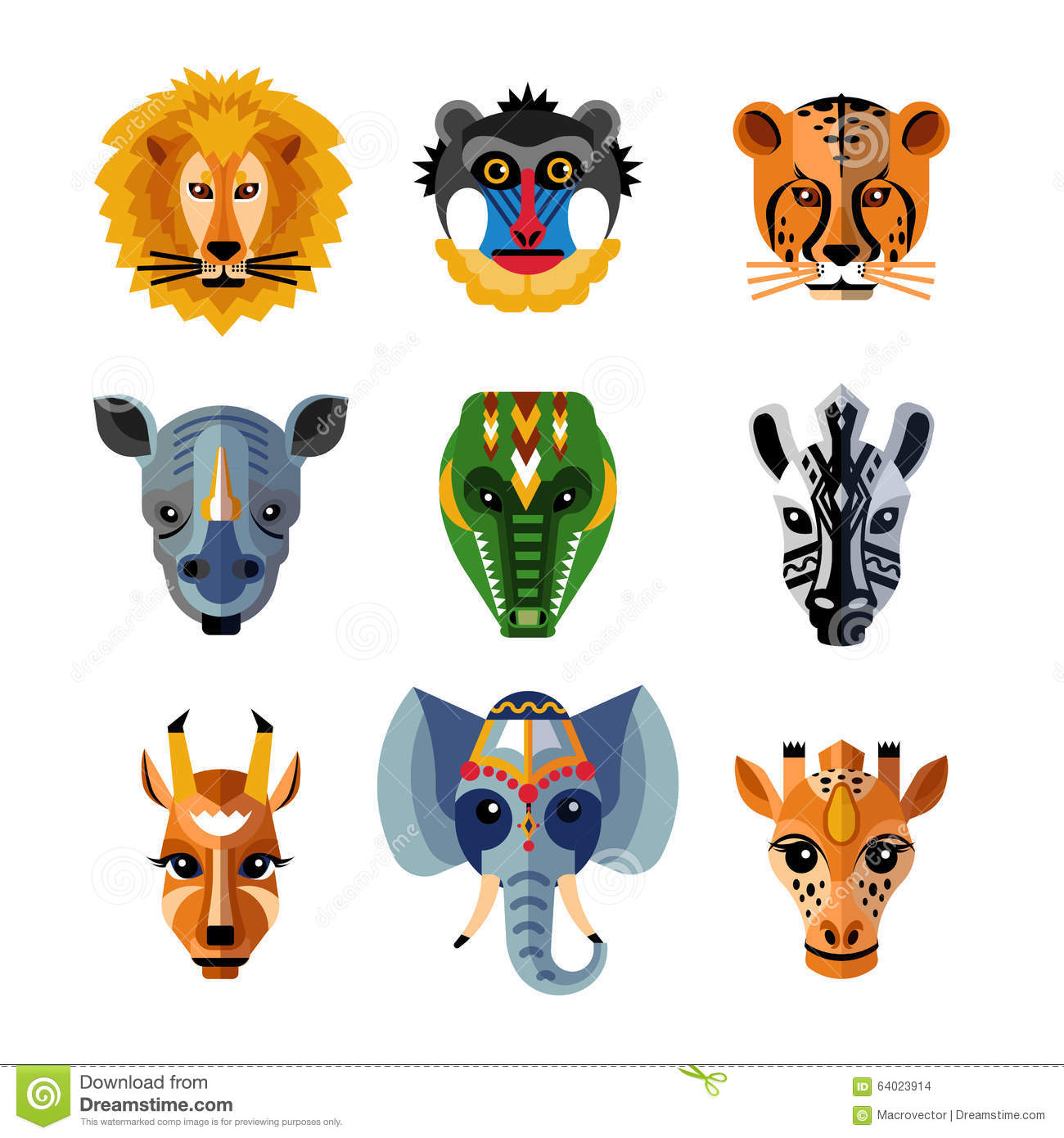 African Animals Heads Masks Flat Icons Stock Vector ...