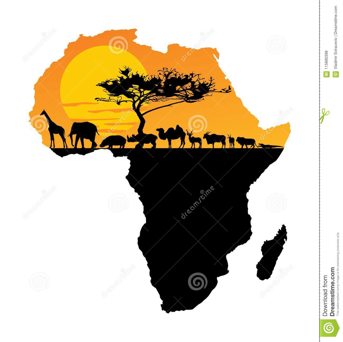 African animals over map of Africa. Safari sunset.