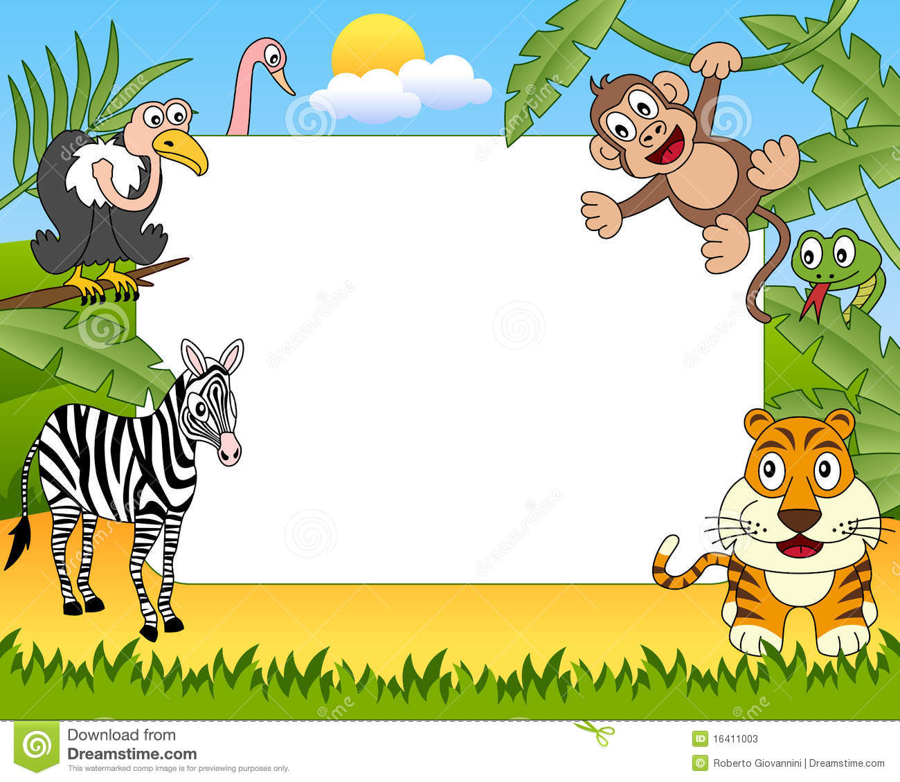African Animals Photo Frame 2 Stock Vector Illustration Of