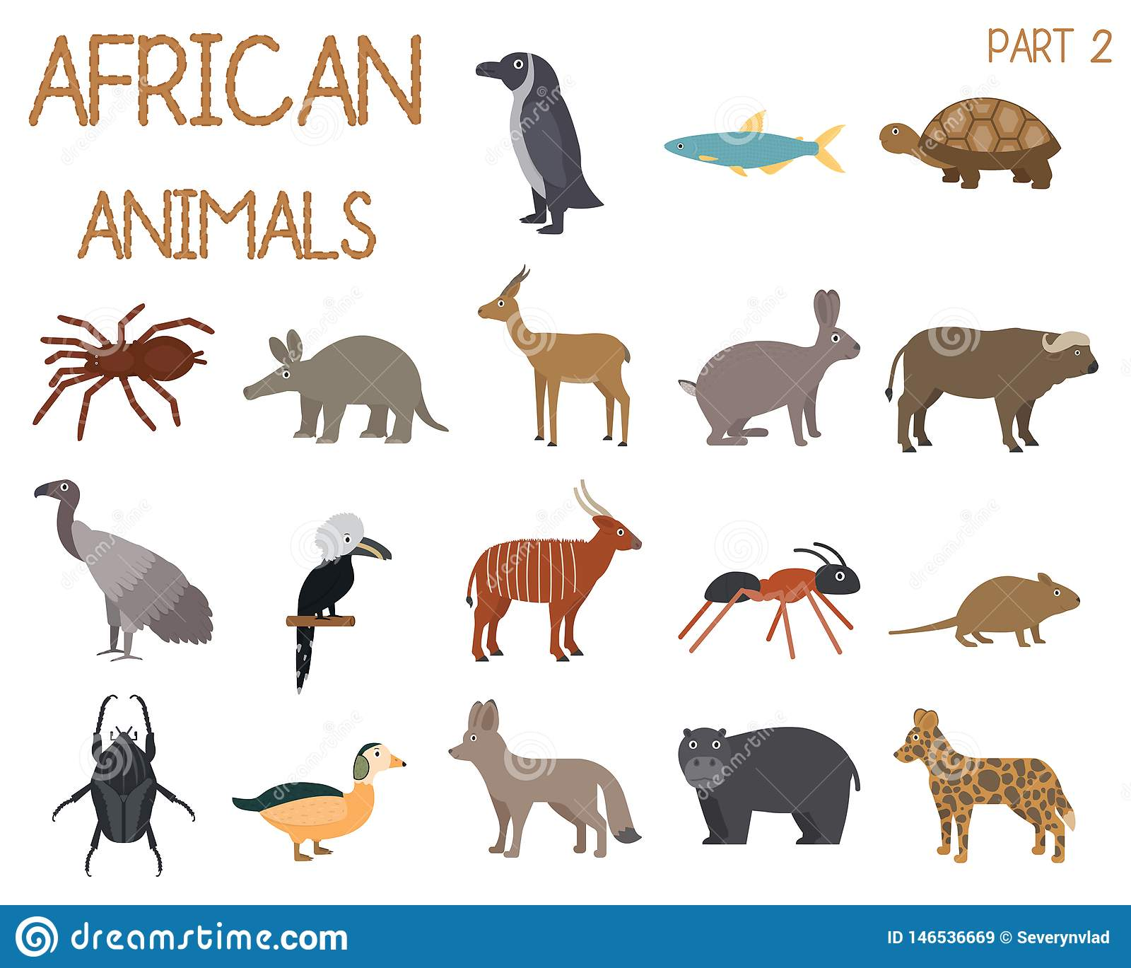 African animals set of icons in flat style, African fauna, dwarf goose, african vulture, buffalo, gazelle dorkas, etc.