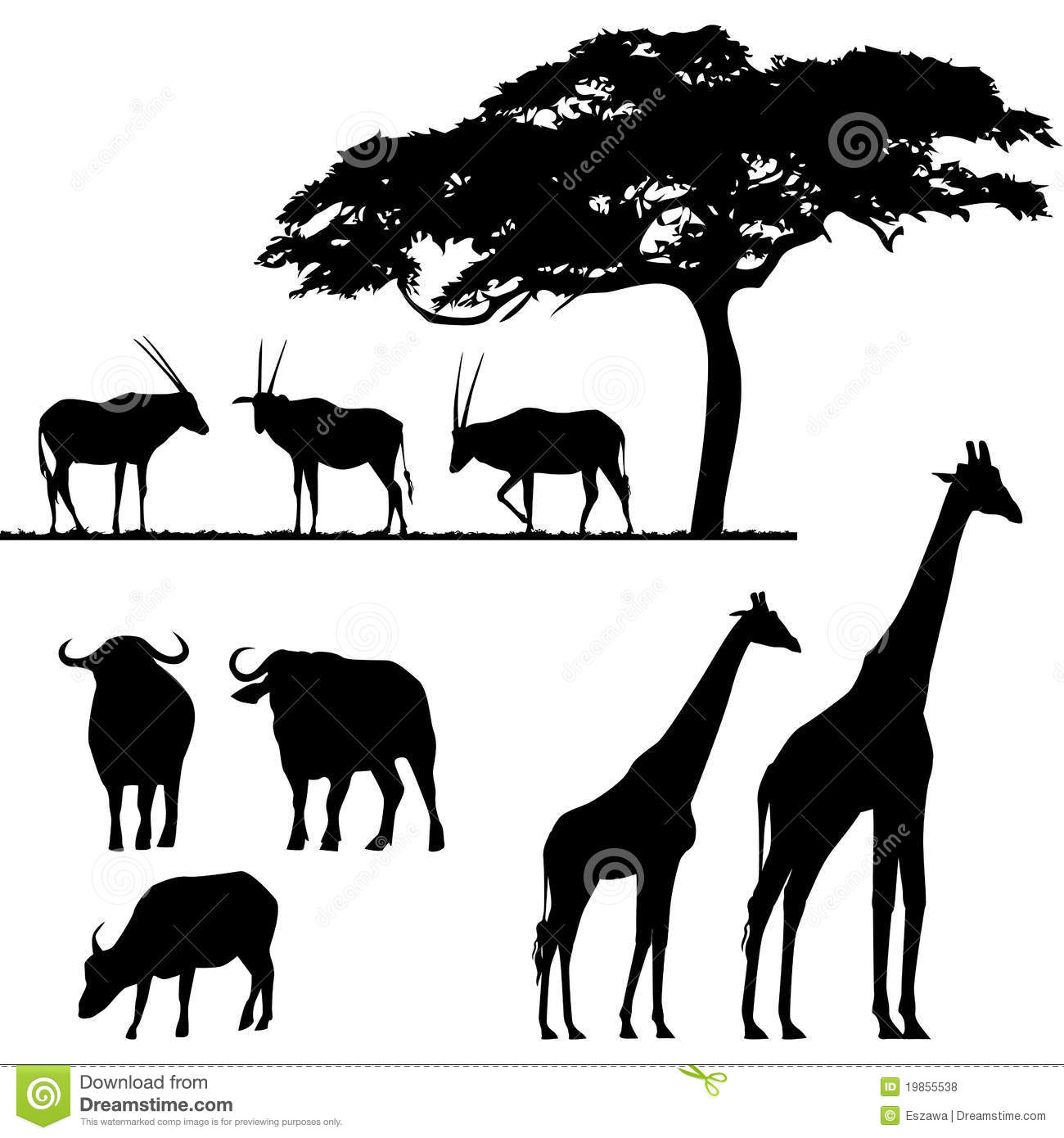 African Animals, Silhouettes Royalty Free Stock Photos - Image ...
