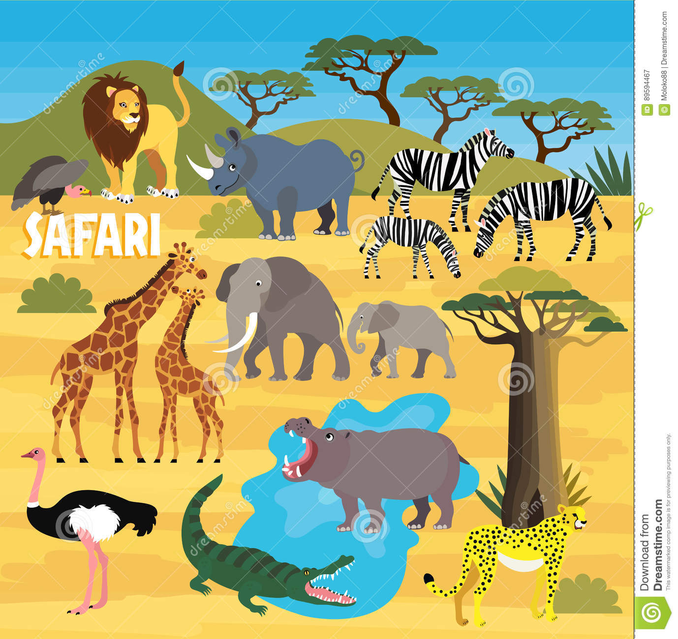Map Of African Jungle.African Animals Vector Illustration Stock Vector Illustration Of