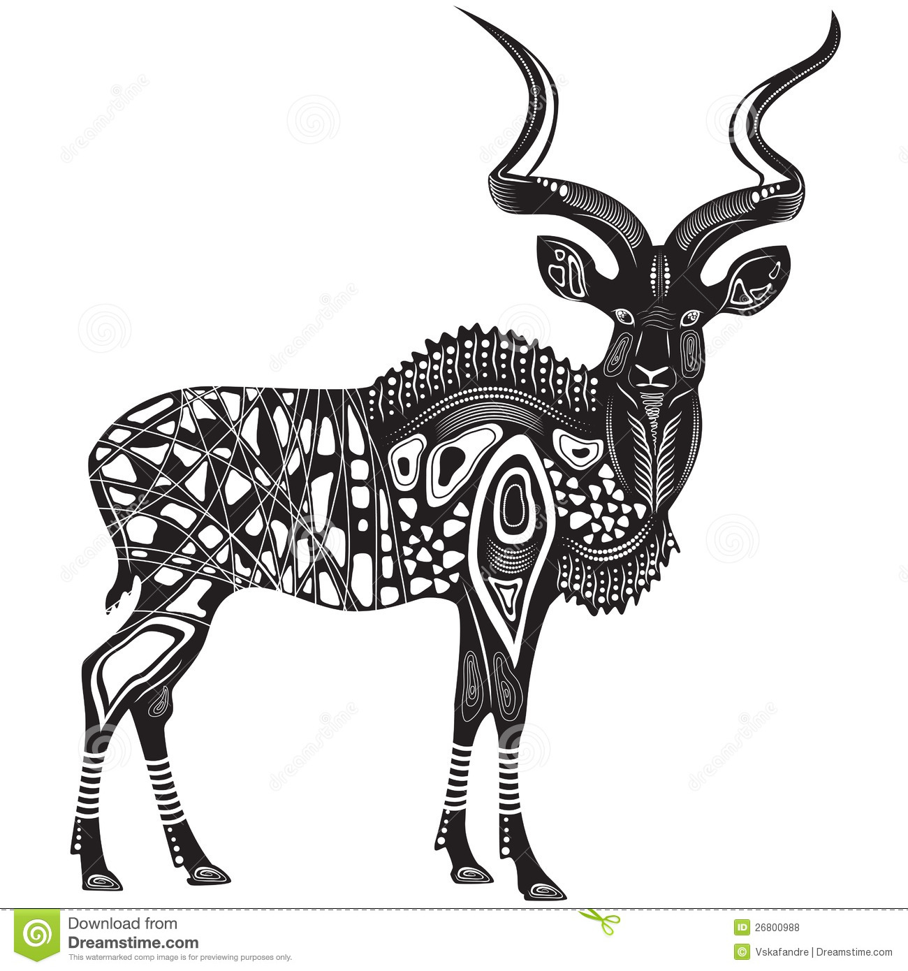 African Antelope Kunu Stock Vector. Illustration Of