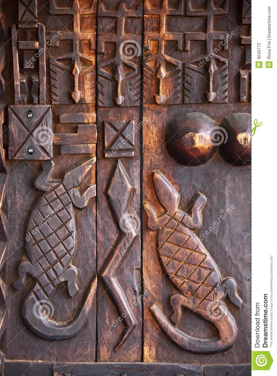 African art wood carving design stock photo image