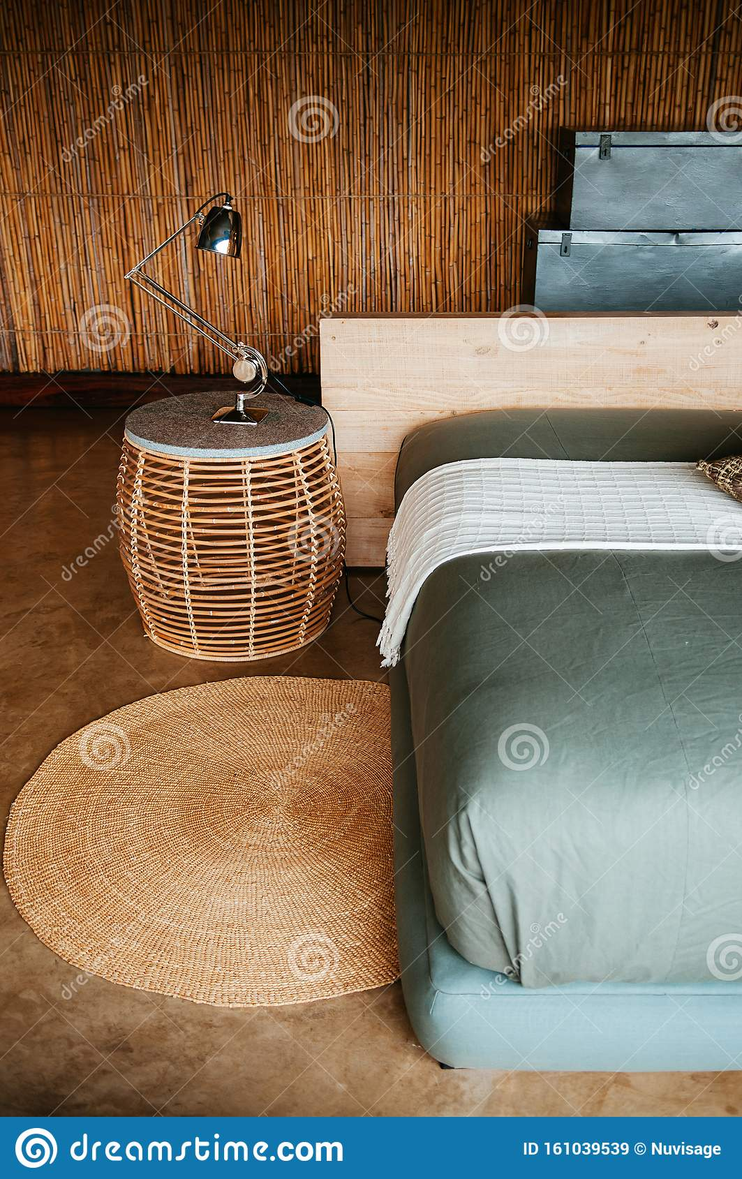 African Asain Boho Contemporary Bedroom Interior With Rattan Side Table And Soft Fabric Bed Editorial Stock Image Image Of Cozy Cushions 161039539