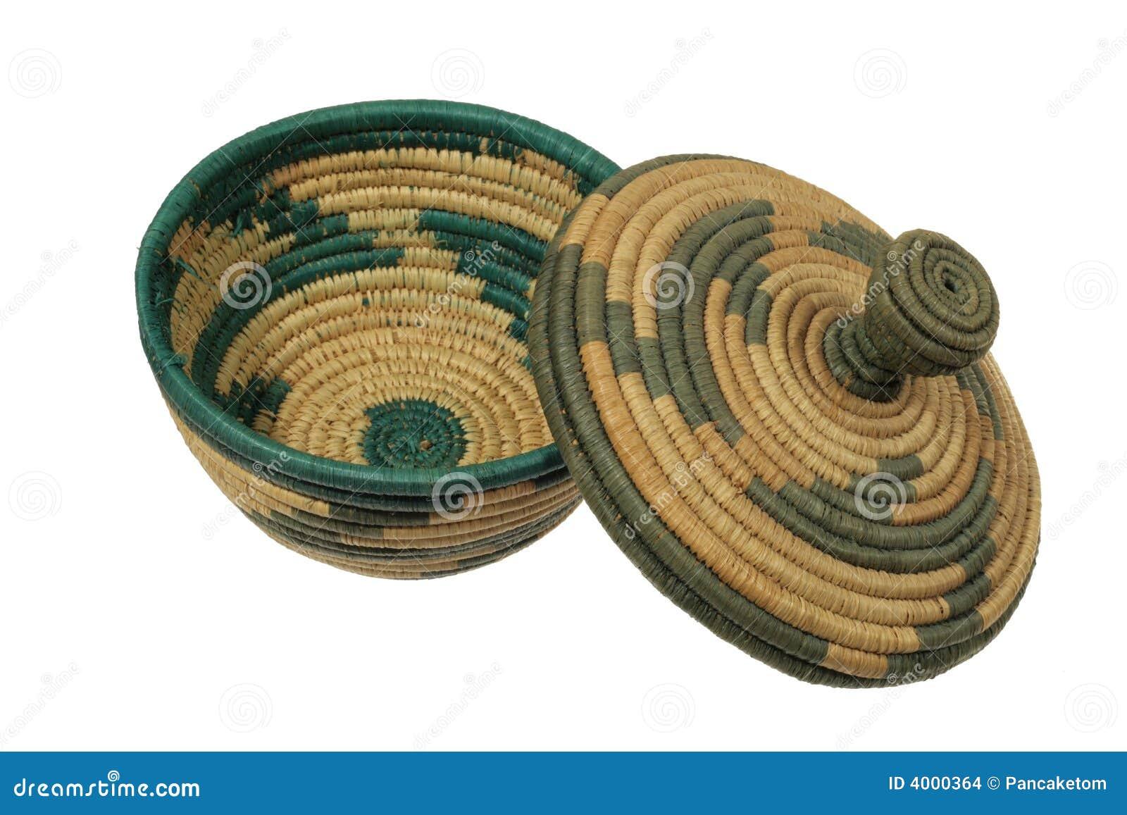 african basket with lid stock images image 4000364. Black Bedroom Furniture Sets. Home Design Ideas