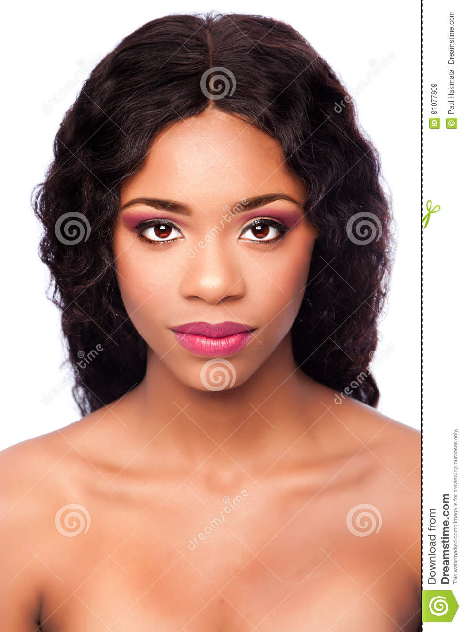 African Beauty Face With Makeup And Curly Hair Stock Image Image