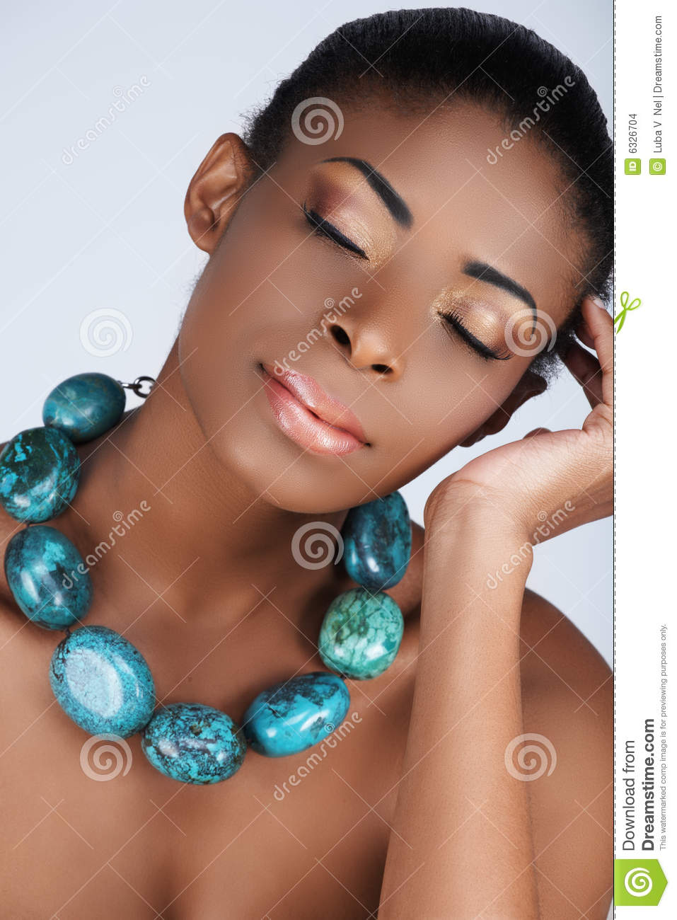 african beauty in necklace stock photo  image of content