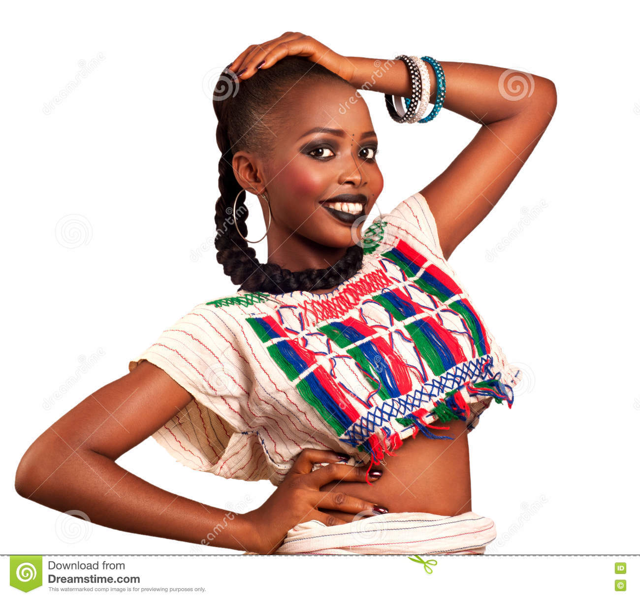 African Beauty Traditional Dress Stock Image
