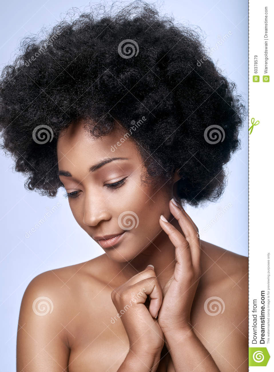 Download African Black Beauty In Studio Stock Image - Image of curly, model: 60378579