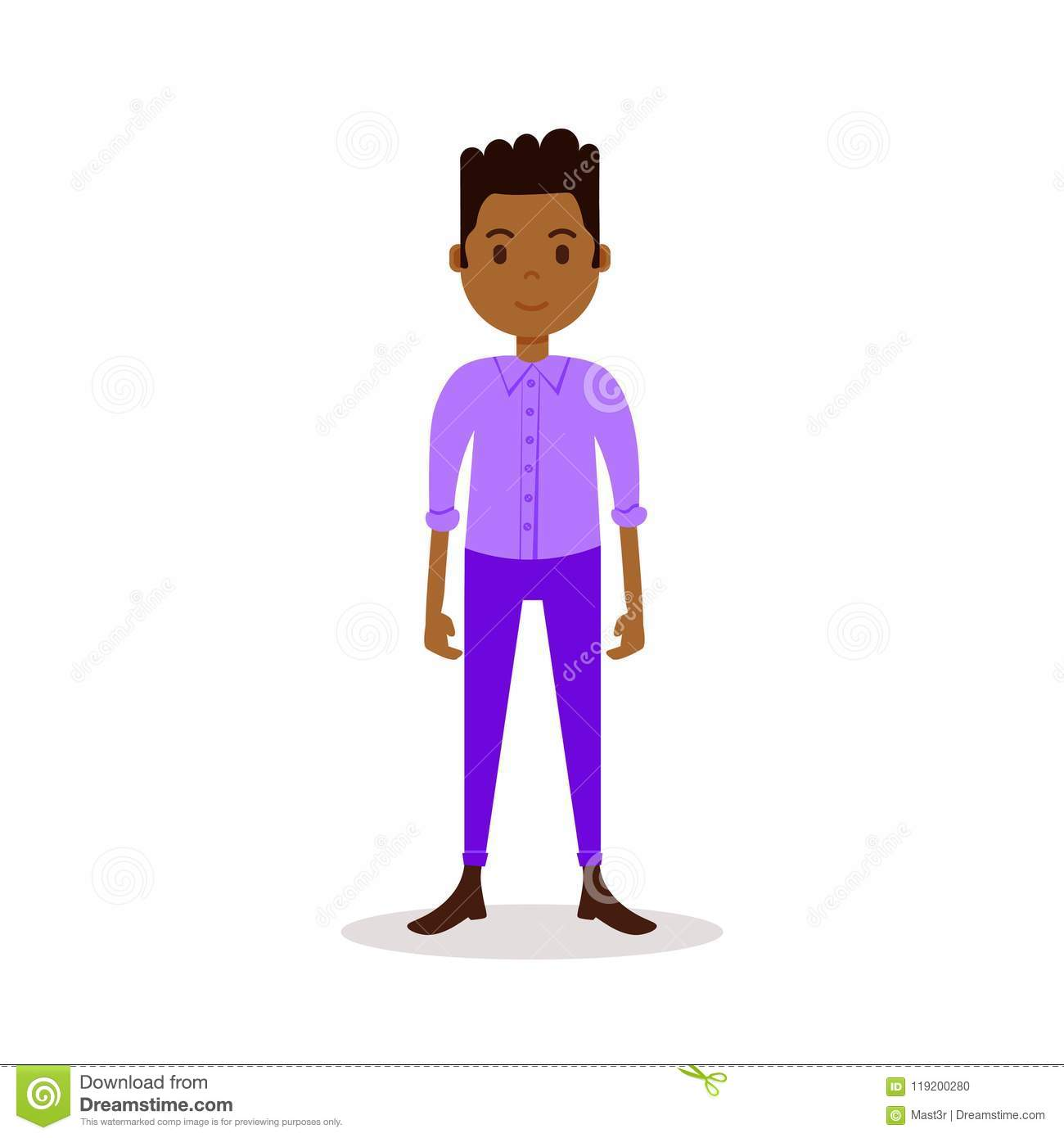 African Boy Character Serious Male Violet Suit Template For Design