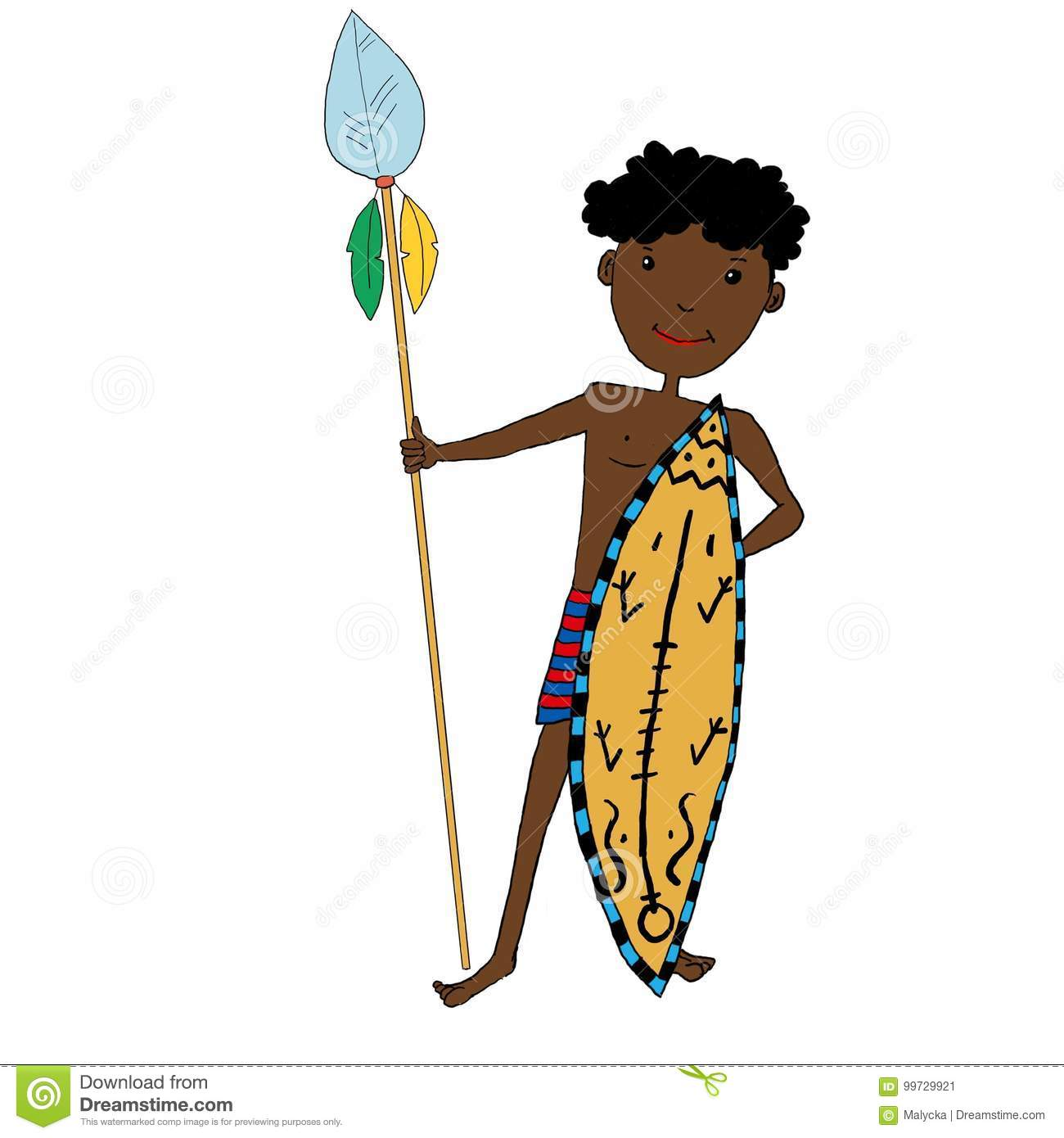 African Boy With Shield And Spear Stock Illustration - Illustration