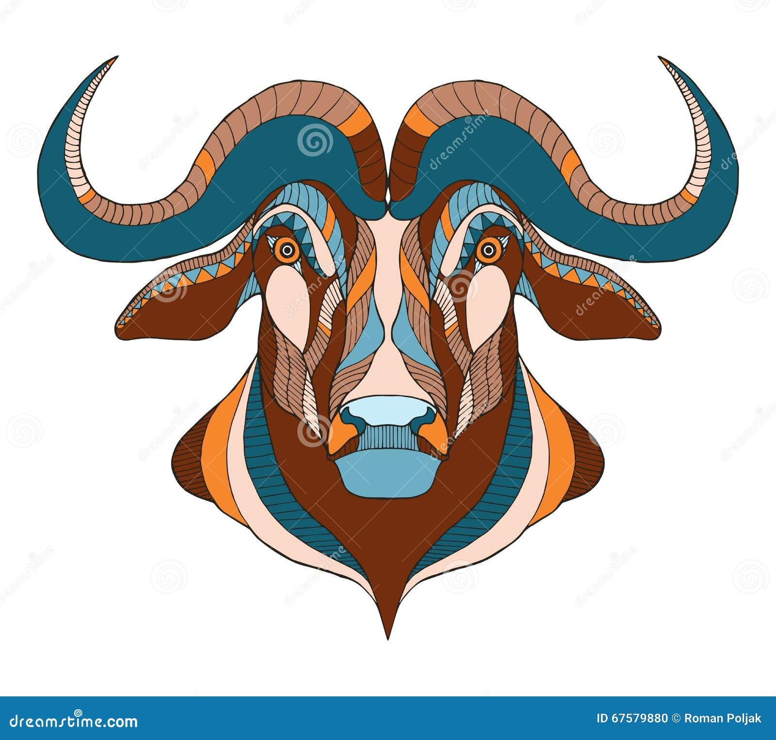 3bb154249 African Buffalo Head Zentangle Stylized, Vector, Illustration, F ...