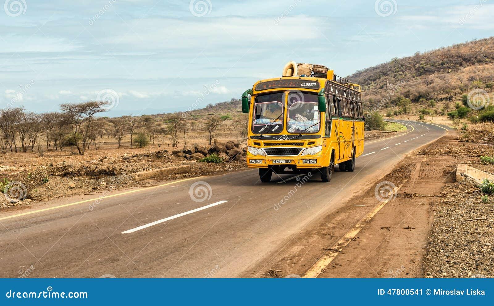 African Bus Travelling From Arusha To Namanga, Tanzania