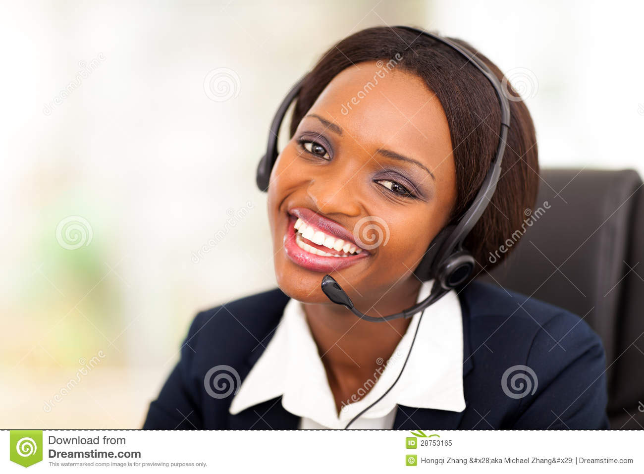 African Call Center Operator Royalty Free Stock Photo