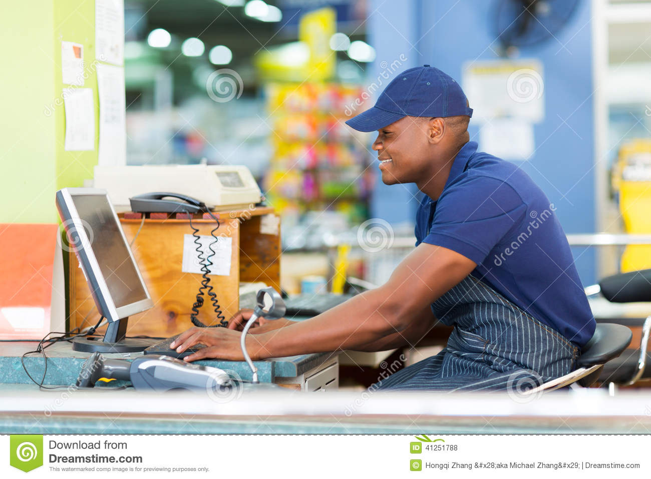 african cashier till point stock photo