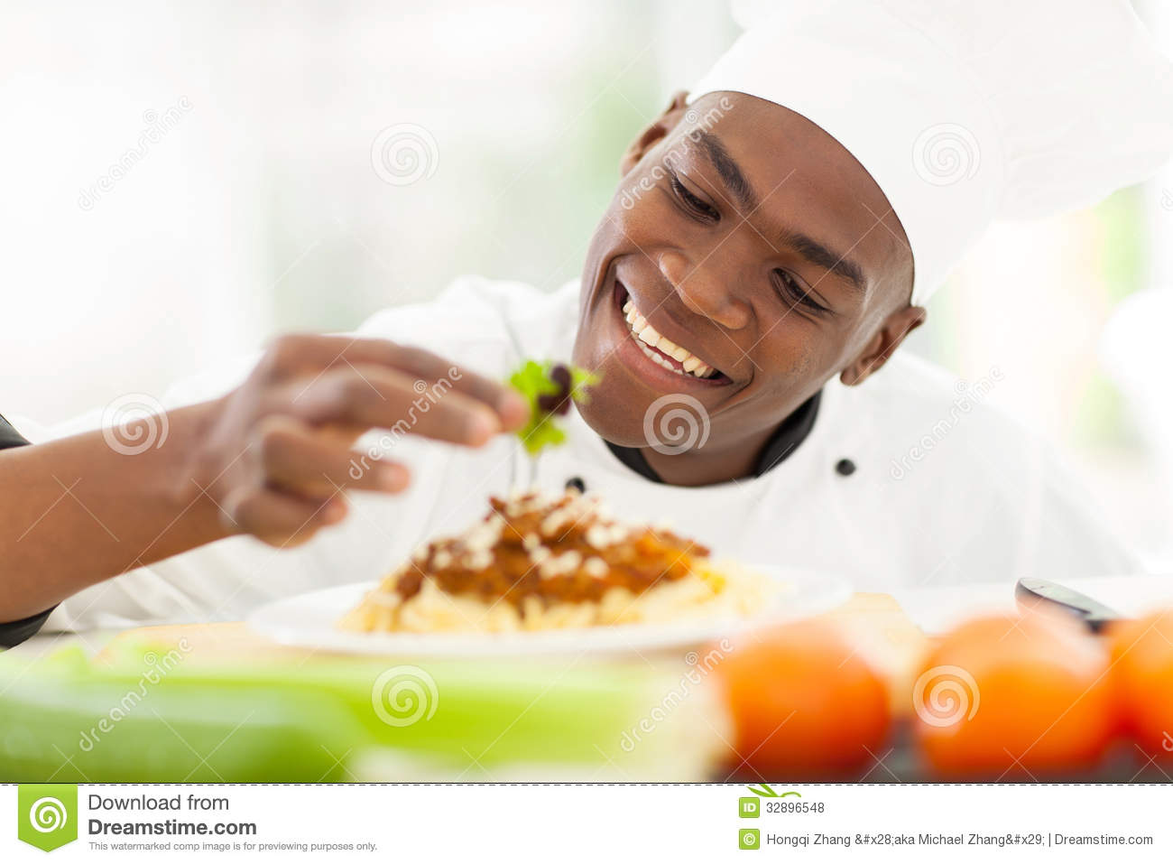 African Chef Decorating Royalty Free Stock Photos Image