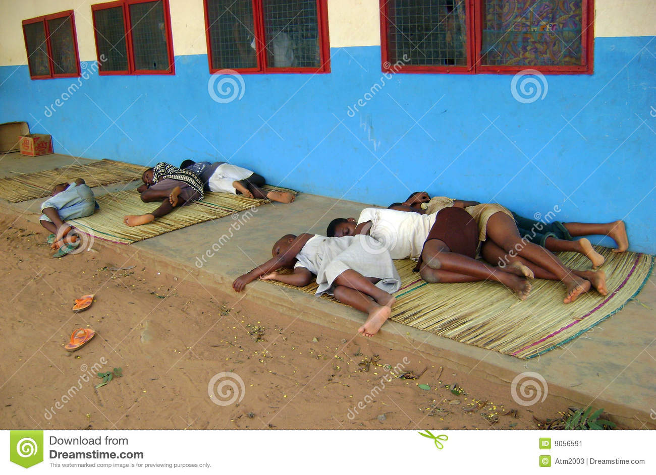 African Child Sleeping Outdoor Editorial Photo Image