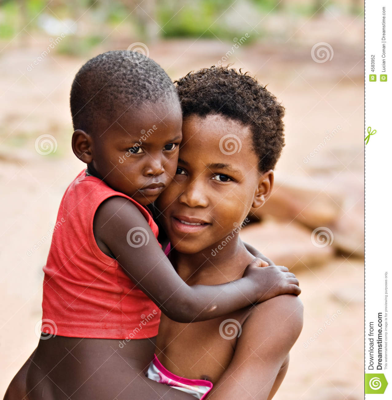 African children brother and sister, social issues, poverty, village ...