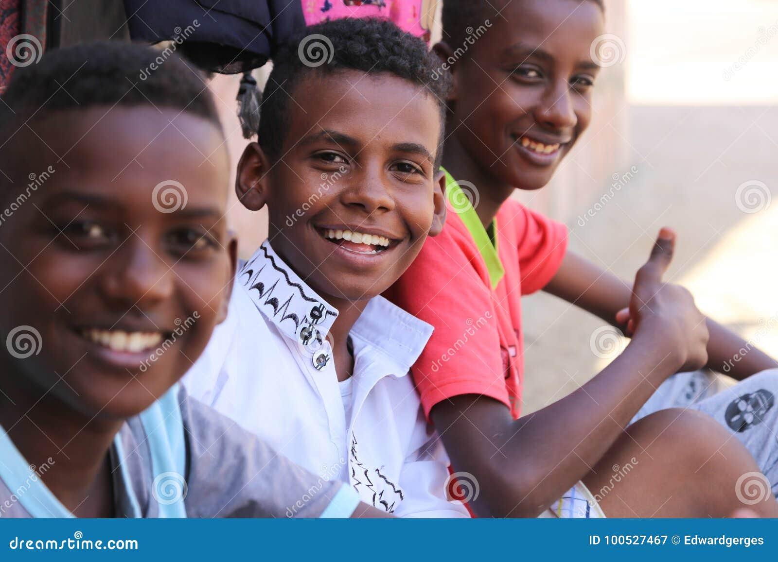 African children aswan nile river egypt 20 september 2017