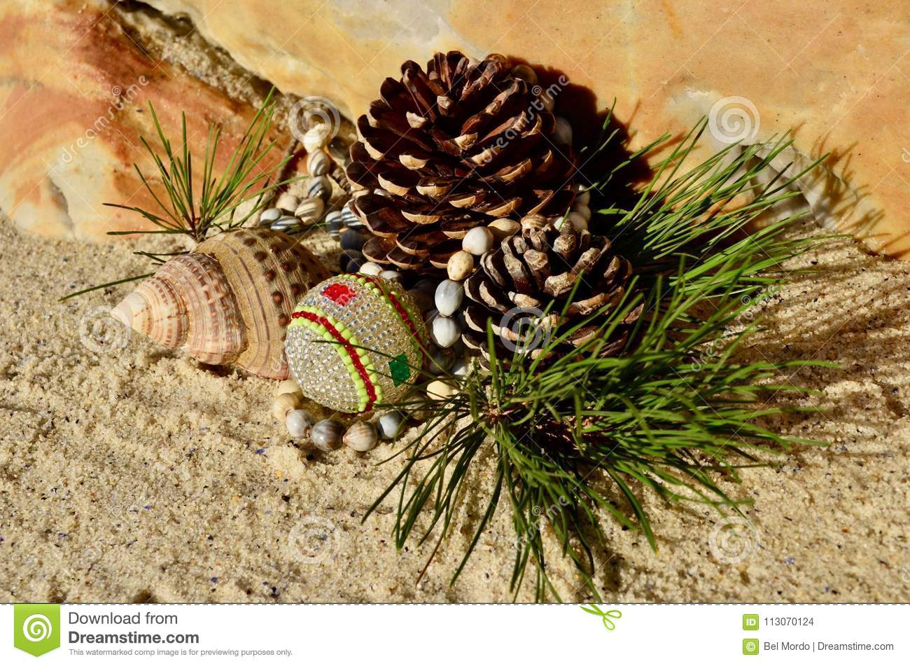 download pine cone african beaded christmas decorations on the beach christmas in july stock photo