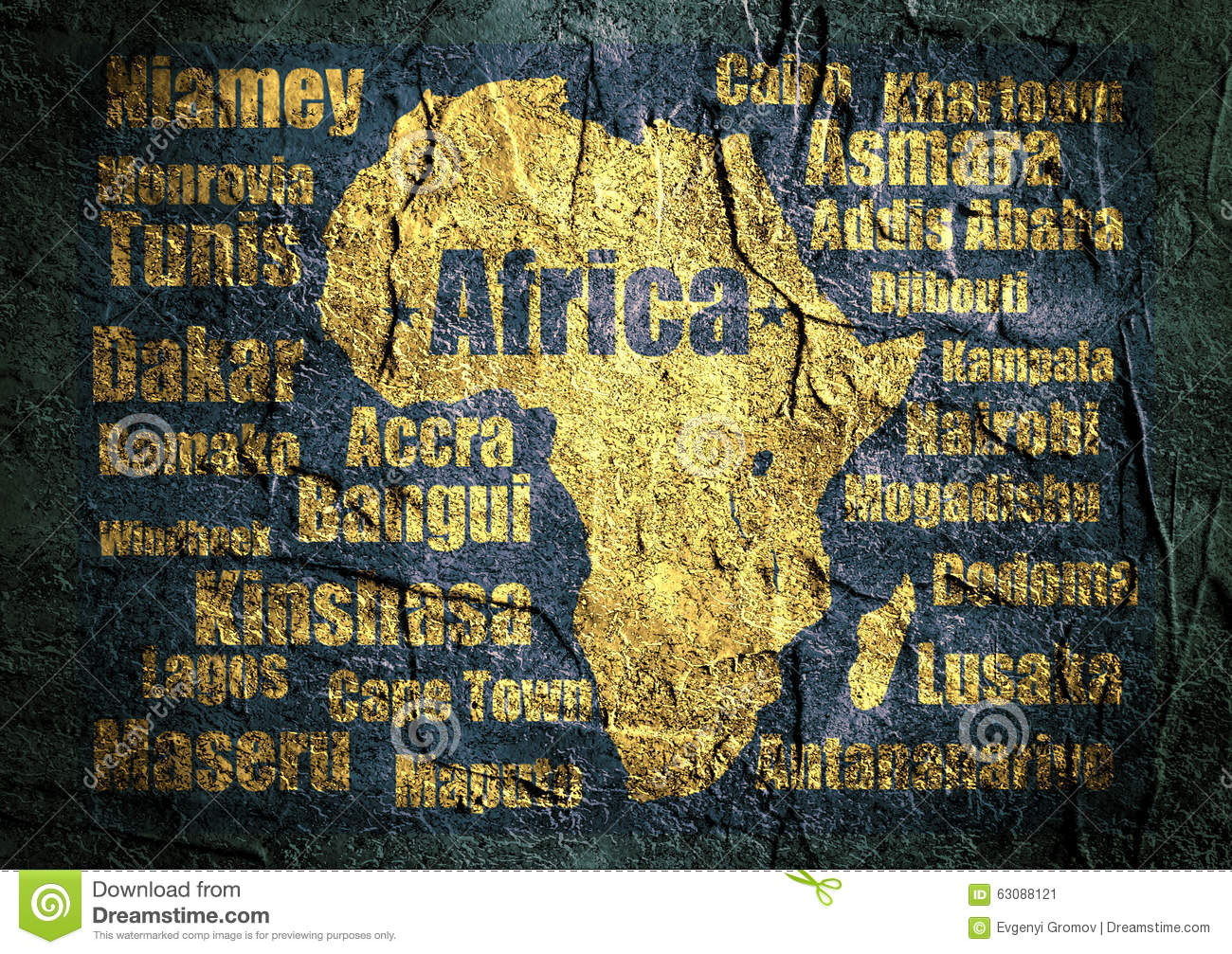 Africa Outline Map With Names.African Continent Silhouette With Capitals Names Stock