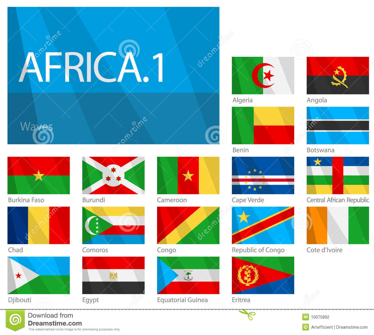 african countries part 1 world flags series illustration 10075892