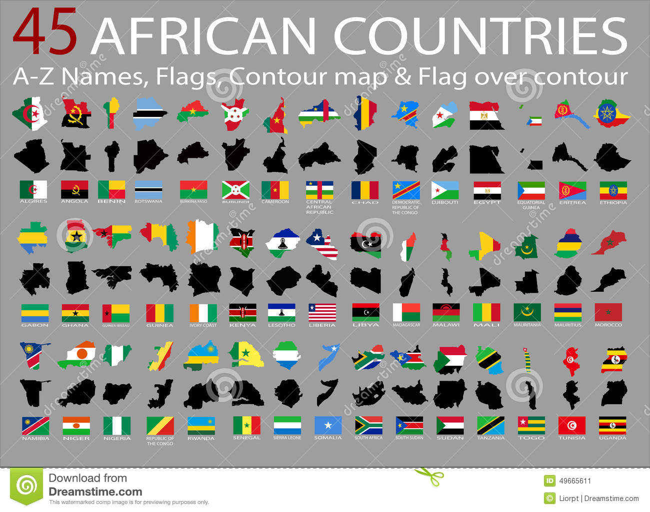 45 African Countries AZ NamesFlagsContour And National Flag Over