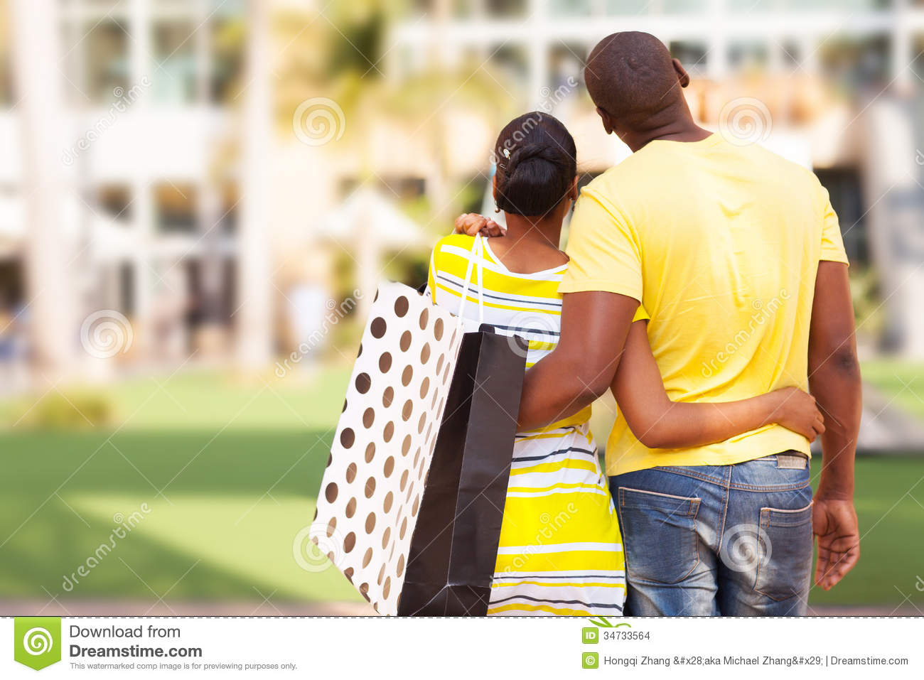 African couple buying apartment