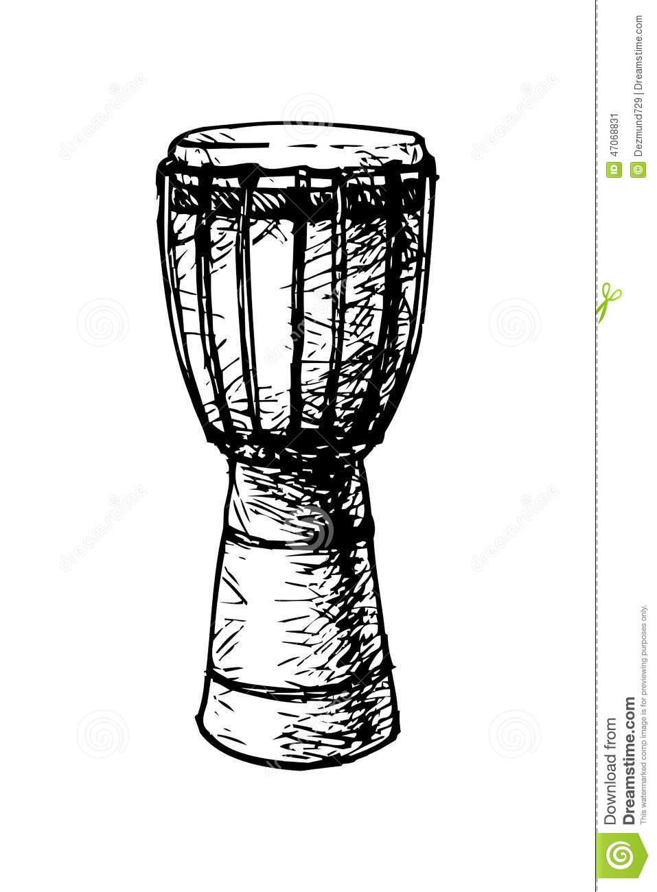 Black and white drawing of a traditional African drum.