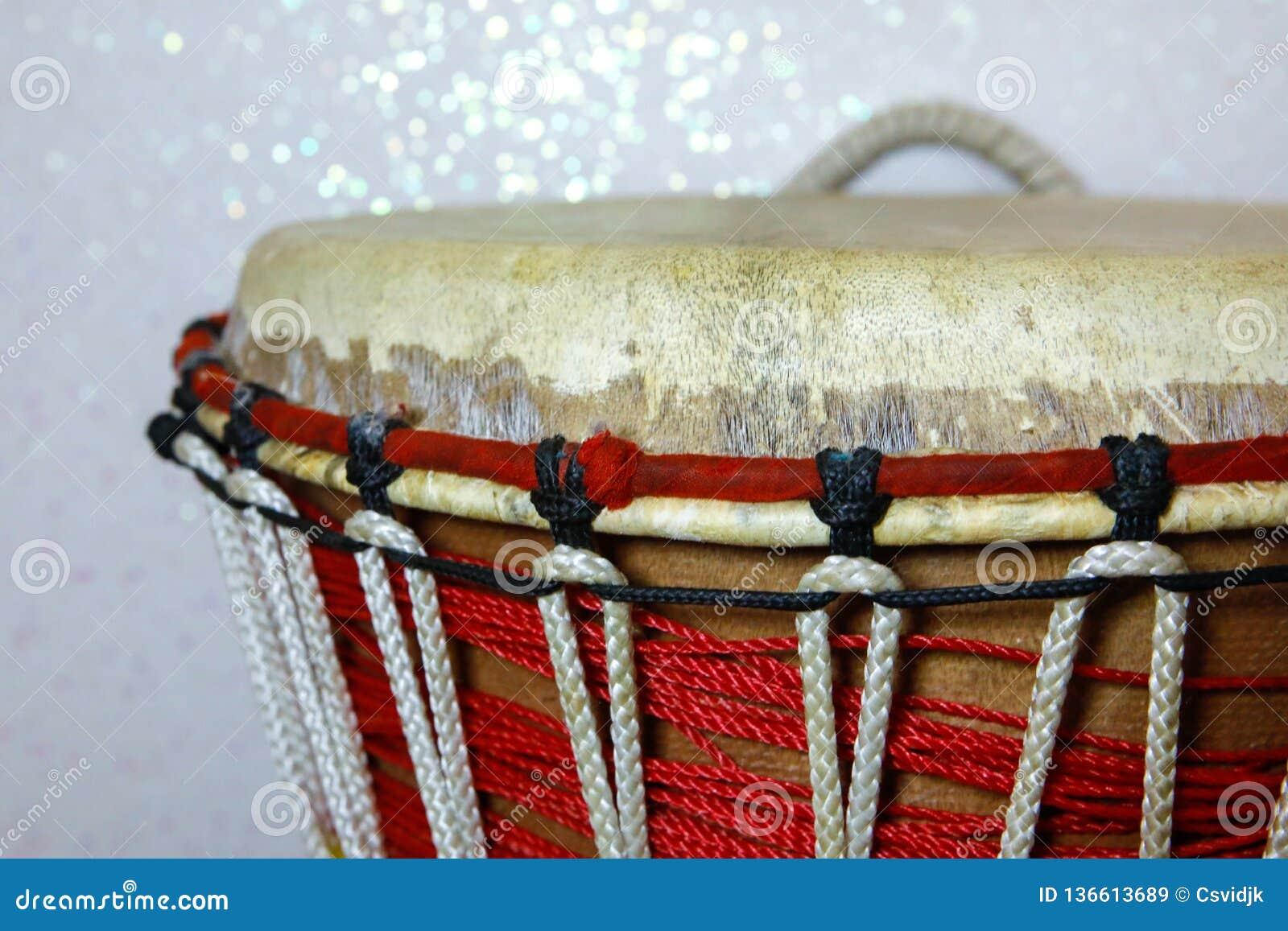 African wooden drum djembe