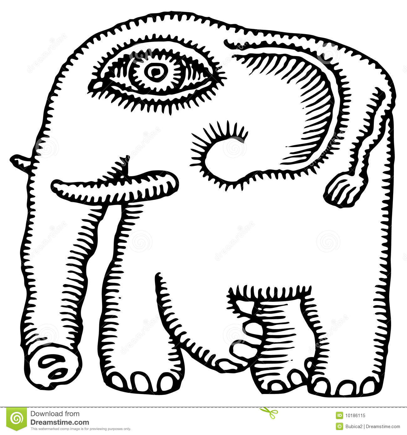 African Elephant Drawing Royalty Free Stock Photo Image
