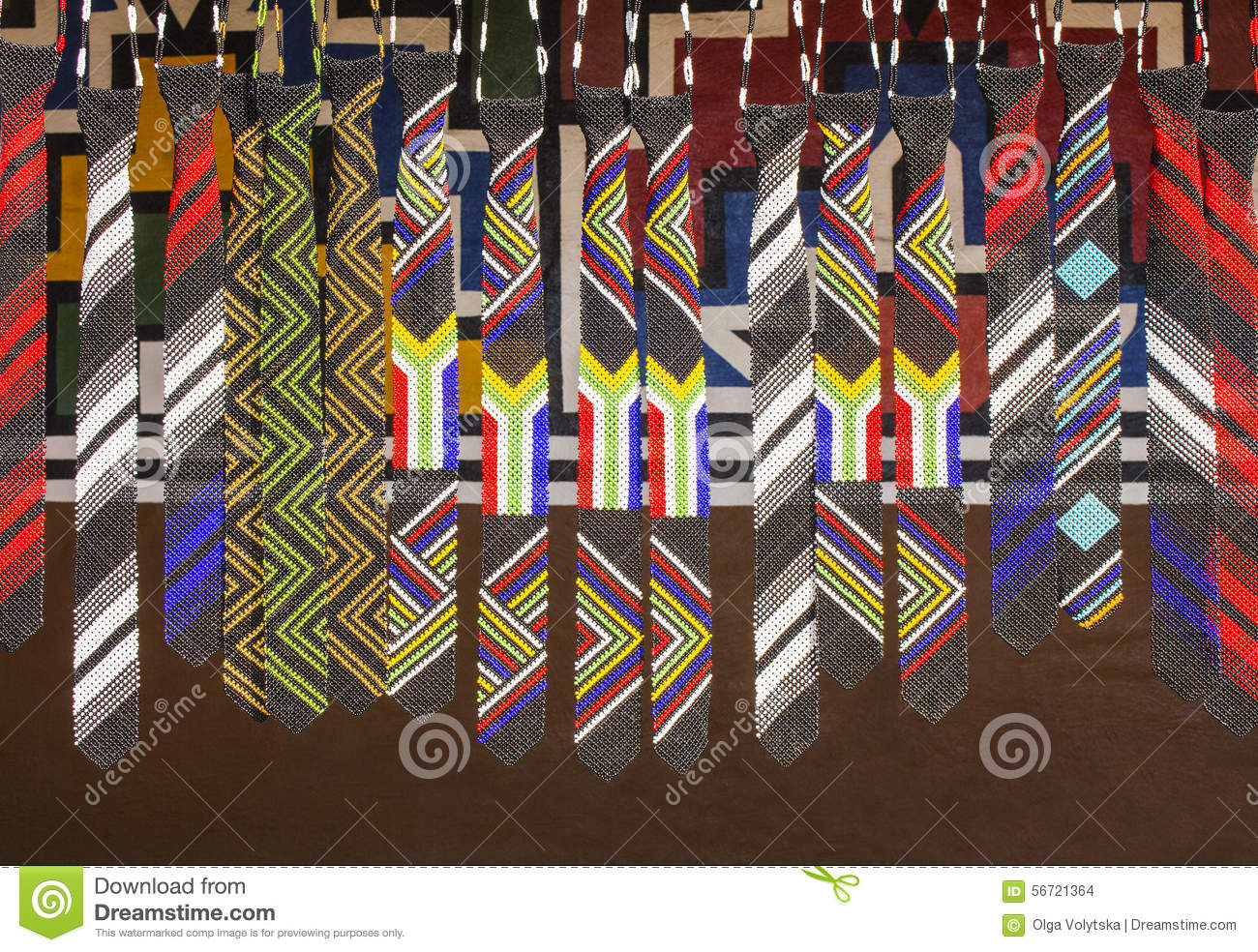 African ethnic handmade beads colorful ties. Flag of South Africa.