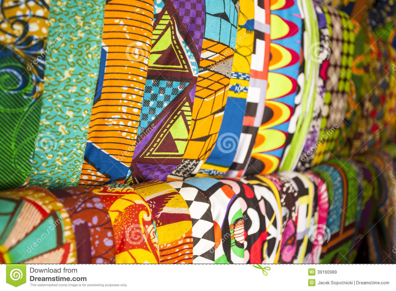 African Fabrics From Ghana West Africa Stock Photo