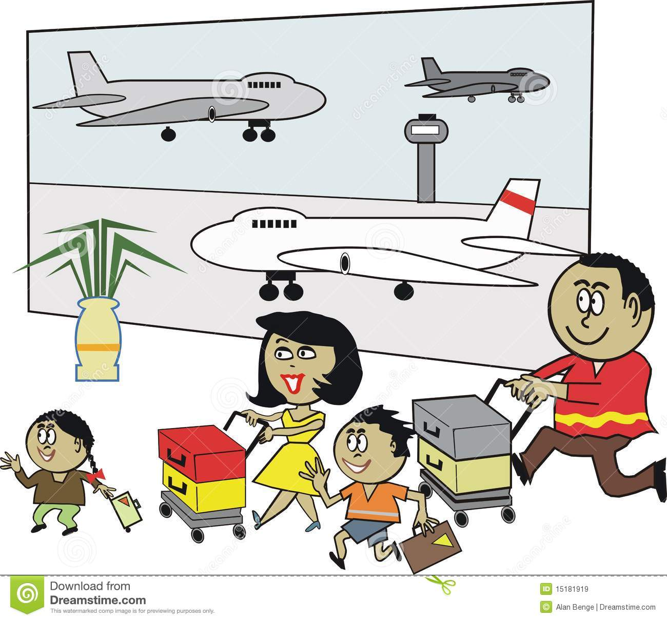 African Family Airport Cartoon Stock Vector - Illustration ...