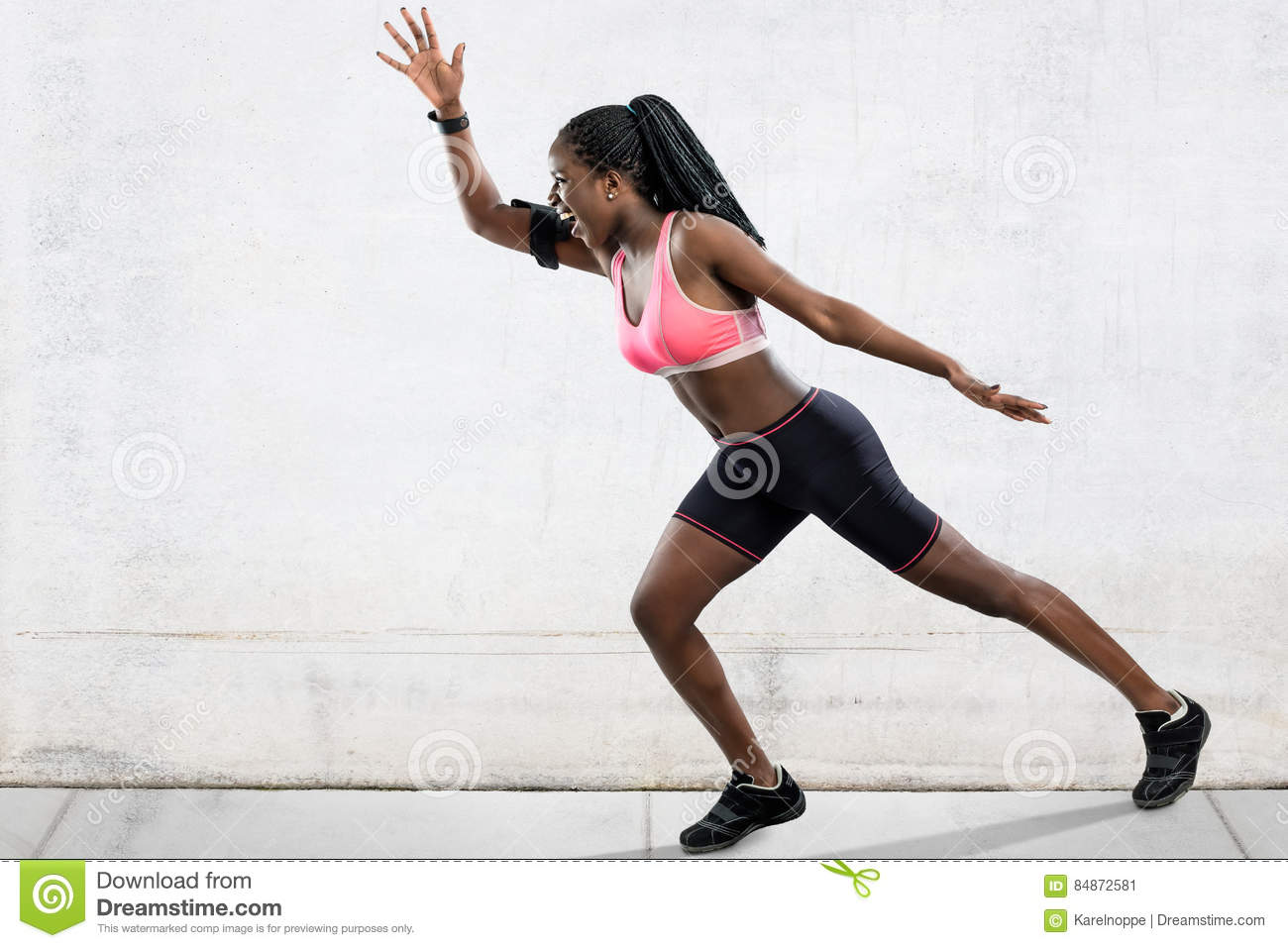 african female athlete in running position stock image image of