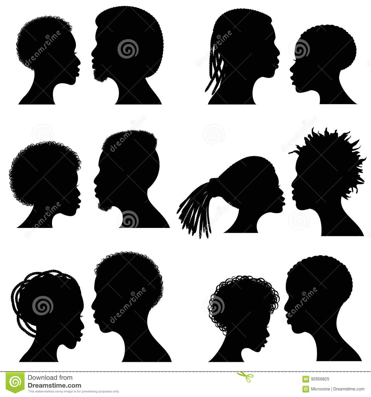 African Female And Male Face Vector Silhouettes. Afro American ...